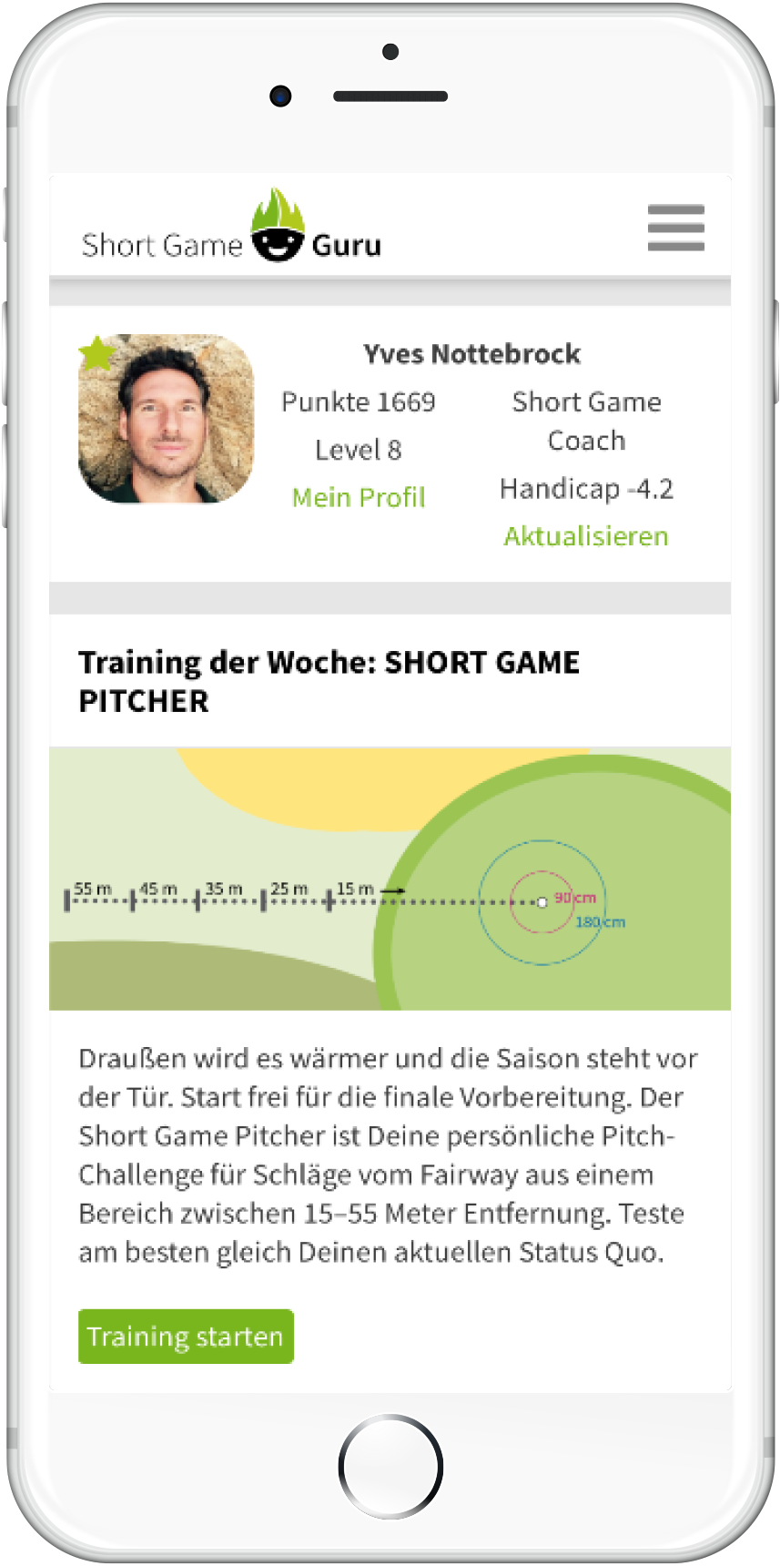 Short Game Guru Start-Screen