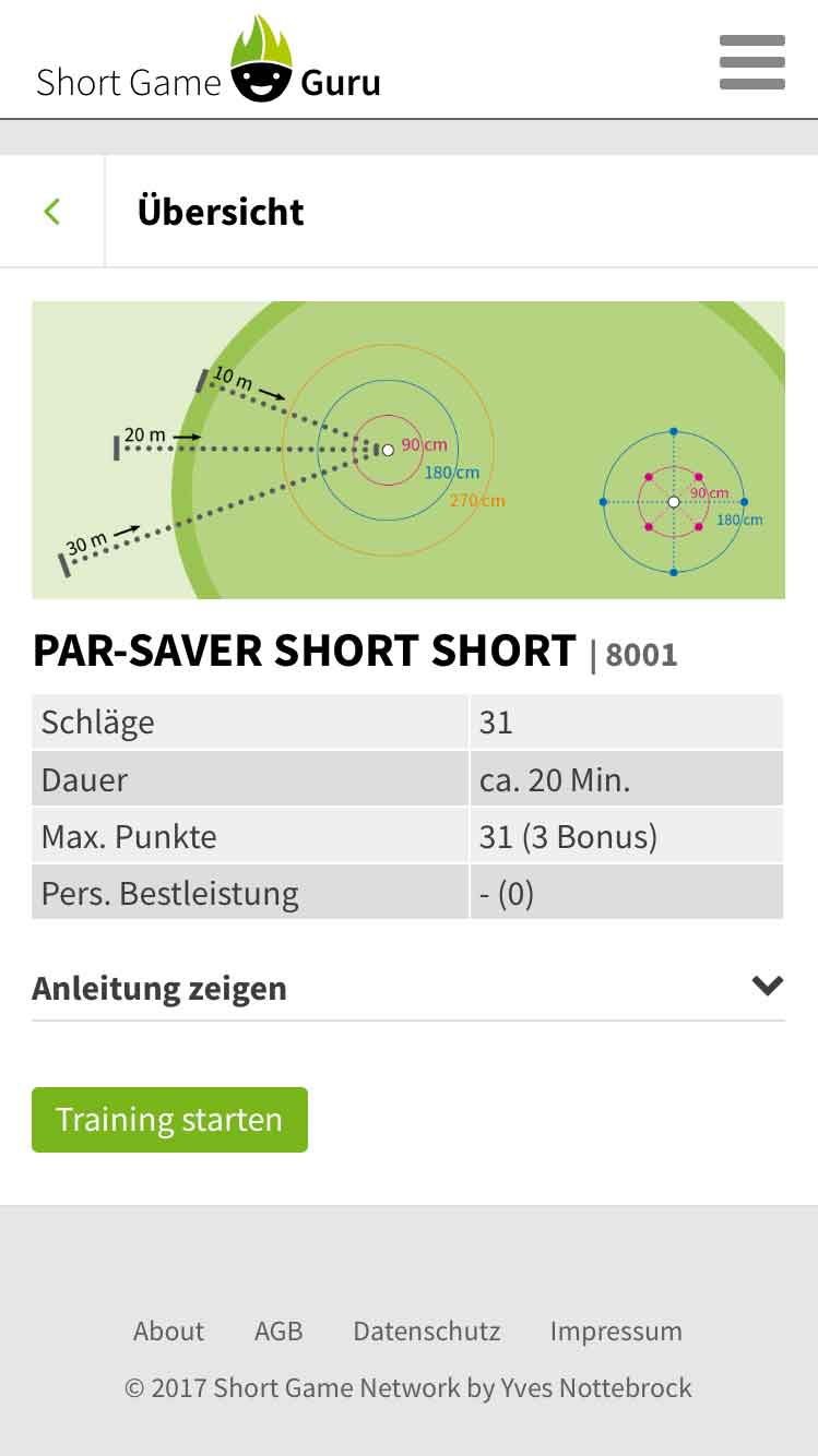 Short Game Guru Training Parcours